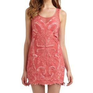Free People Pink Mesh Beaded Body con Dress